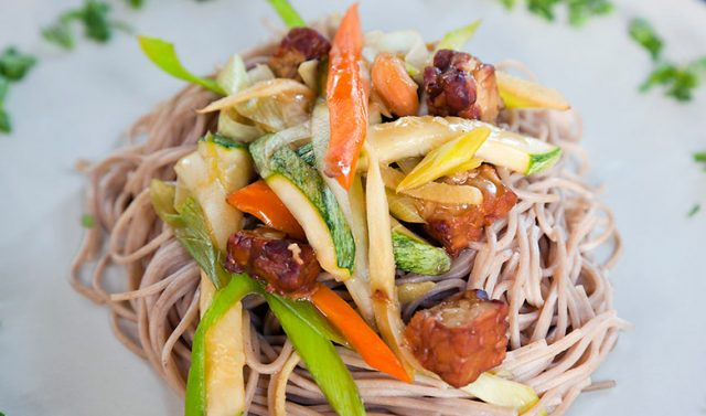 Noodles with fresh vegetables and pumpkin