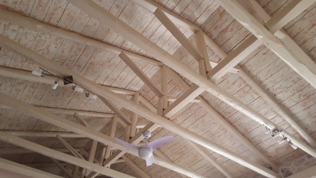 The wooden roof